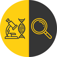 Graphic of microscope and magnifying glass icon